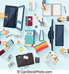 hivatal, asztal, dolgozó, végrehajtó