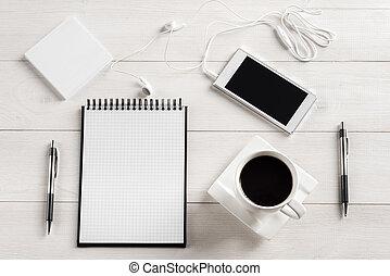 hivatal, asztal tető, kilátás