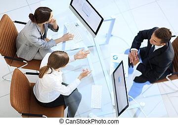 hivatal, elfoglalt, ügy emberek, tető, munka, meeting., kilátás