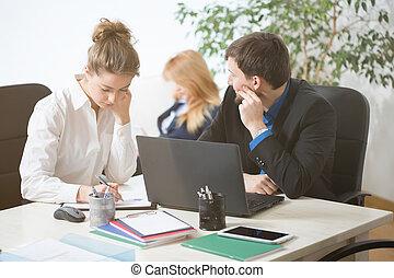 hivatal, elfoglalt, emberek, dolgozó