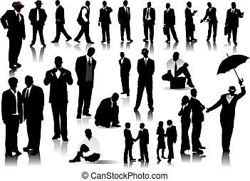 hivatal emberek, silhouettes., vektor, noha, egy, csattant,...