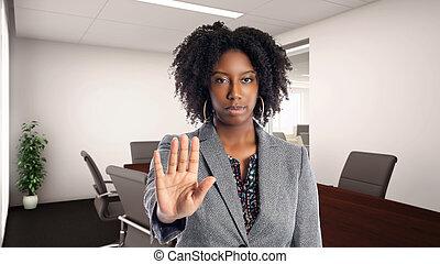hivatal, gesztus, üzletasszony, african american, abbahagy