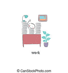 hivatal., illustration., munka emberek