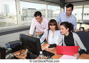 hivatal munkás, birtoklás, egy, gyűlés
