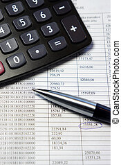hivatal, számológép, akol, asztal, számvitel, dokumentum