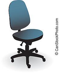 hivatal szék, elszigetelt, képben látható, egy, fehér, -, ábra