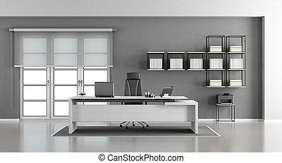 hivatal, szürke, modern, fehér