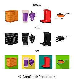 Hive, grapes, boots, wheelbarrow. Farm set collection icons in cartoon, black, flat style bitmap symbol stock illustration web.