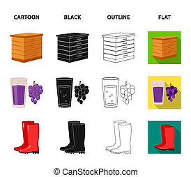 Hive, grapes, boots, wheelbarrow. Farm set collection icons in cartoon, black, outline, flat style bitmap symbol stock illustration web.