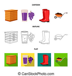 Hive, grapes, boots, wheelbarrow. Farm set collection icons in cartoon, outline, flat style bitmap symbol stock illustration web.