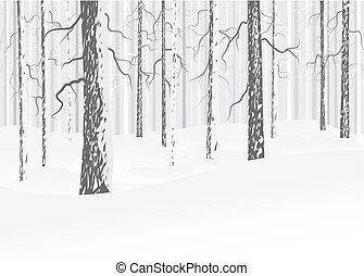hiver, à feuilles caduques, forêt