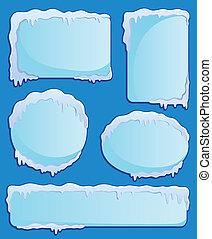 hiver, étiquettes, thème, image, 2