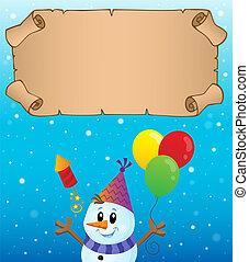 hiver, 1, thème, petit, fête, parchemin