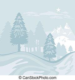 hiver, alpin, paysage
