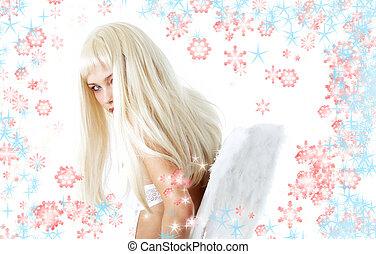 hiver, ange, flocons neige