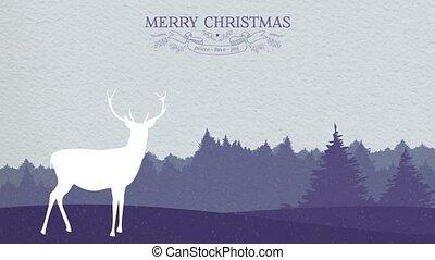 hiver, animation, papier, forêt, joyeux noël, carte