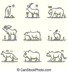 hiver, animaux, dessin animé, dans, contour, ensemble