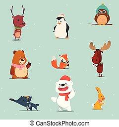 hiver, animaux, dessin animé, ensemble
