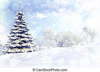 hiver, après, tempête neige, neige, forêt, Orage