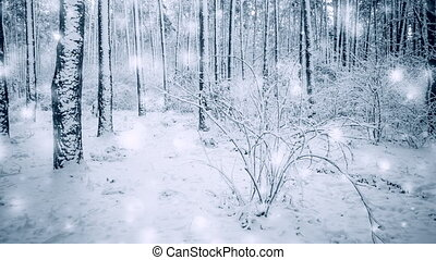 hiver arbre, forêt, pin, tomber, snowfall., impeccable, magie, neige