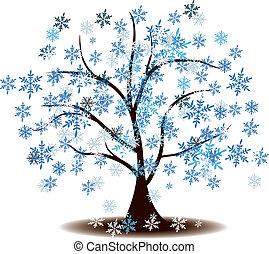 hiver, arbre, neige a couvert