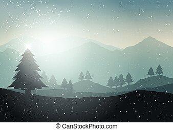 hiver arbre, paysage, noël