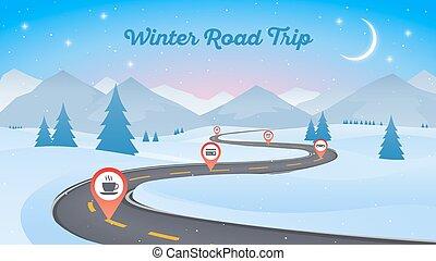 hiver, arrière-plan., neigeux, route enroulement, année, nouveau, chemin, paysage, 16x9.
