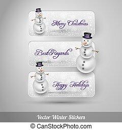 hiver, autocollants, à, snowman., vecteur, éléments conception