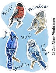 hiver, autocollants, oiseaux