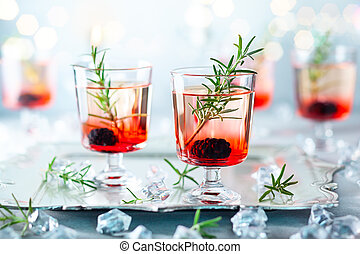 hiver, baie, cocktails