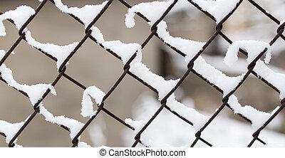 hiver, barrière, neige