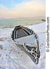 hiver, bateau, temps