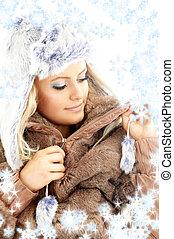 hiver, beauté, flocons neige