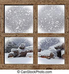 hiver bois, bois brûler, fenêtre, tas, dehors, vue