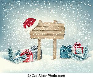 hiver bois, présente, fond, board., noël, vector.