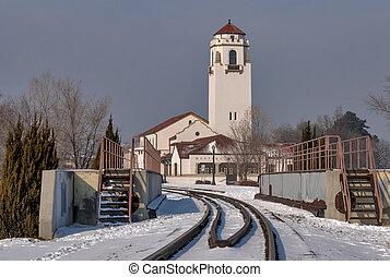 hiver, boise, pistes, dépôt train, idaho