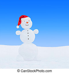 hiver, bonhomme de neige, dans, santa chapeau