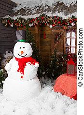 hiver, bonhomme de neige, entouré, par, noël, decors