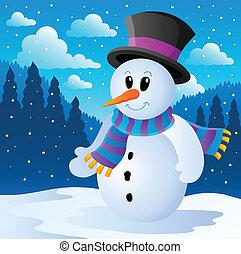 hiver, bonhomme de neige, thème, image, 2