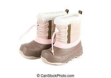 hiver, bottes, enfant