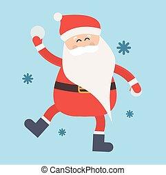 hiver, boule de neige, illustration, jeu, santa, dessin animé