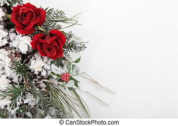 hiver, bouquet fleurs