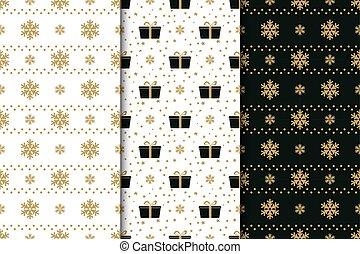 hiver, cadeau, motifs, flocons neige, arcs, seamless, collection, fetes, stars., boîtes, noir, arrière-plan., blanc, doré