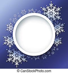 hiver, cadre, flocons neige, fond, orné, 3d