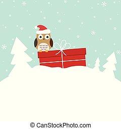 hiver, carte, à, doux, hibou