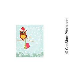 hiver, carte, à, mignon, hibou