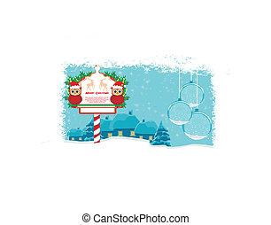hiver, carte, à, mignon, hiboux