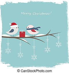 hiver, carte, à, mignon, oiseaux, et, boîte-cadeau