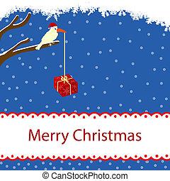 hiver, carte, à, oiseau, et, boîte-cadeau