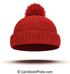 hiver, casquette, tricoté, fond, blanc rouge, 3d